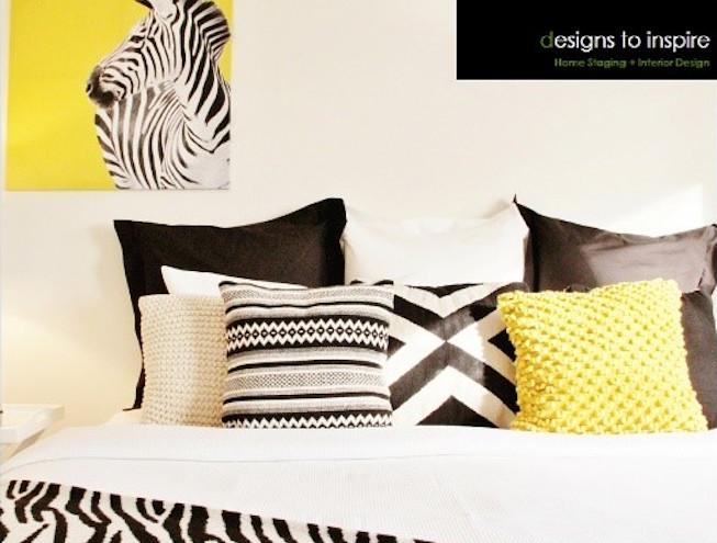 Designer bedroom black white