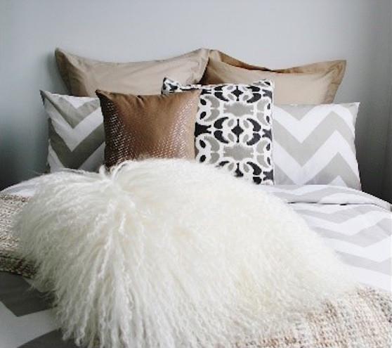 Tan Gray Designer Bedroom