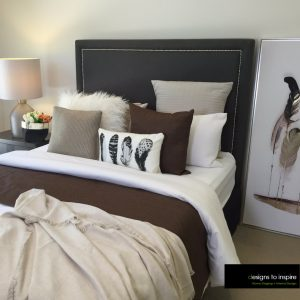 Linen bedroom feather art new look